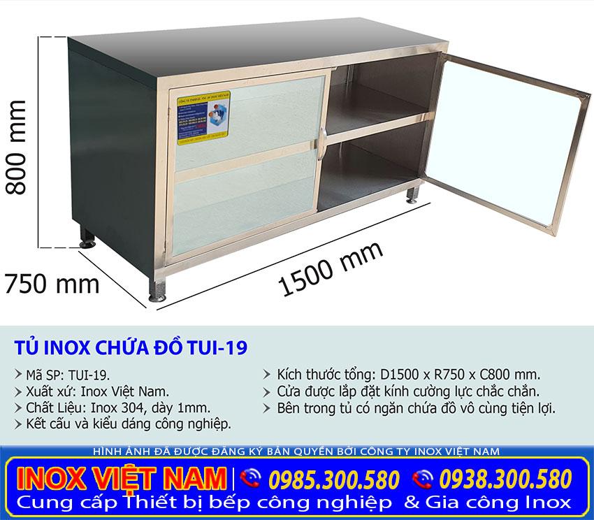 Kích thước tủ inox chứa đồ TUI-19