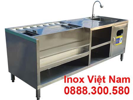 Quầy pha chế trà sữa inox QB-33