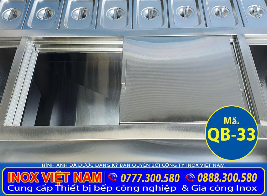 Chi tiết thùng đá inox quầy bar QB-33.