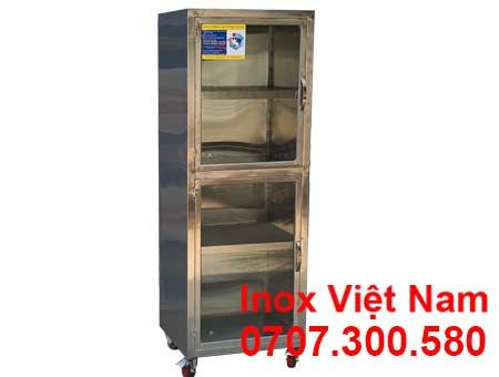 Tủ bếp inox cánh kính chứa đồ TUI-19.