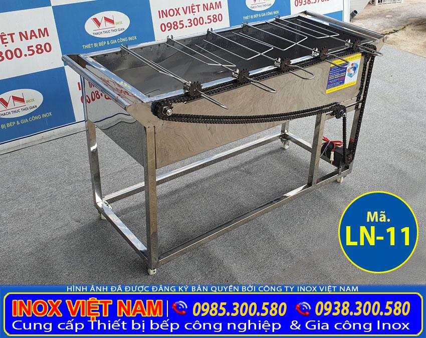 Báo giá bếp nướng than nướng than inox 5 xiên tự động quay LN-11 giá bao nhiêu?