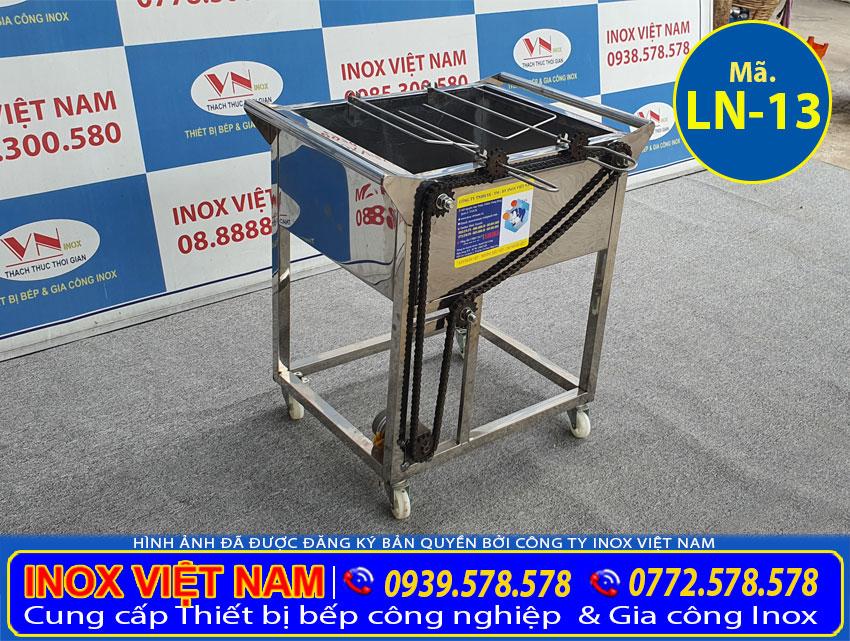 Bếp nướng than inox 2 xiên tự động quay LN-13.
