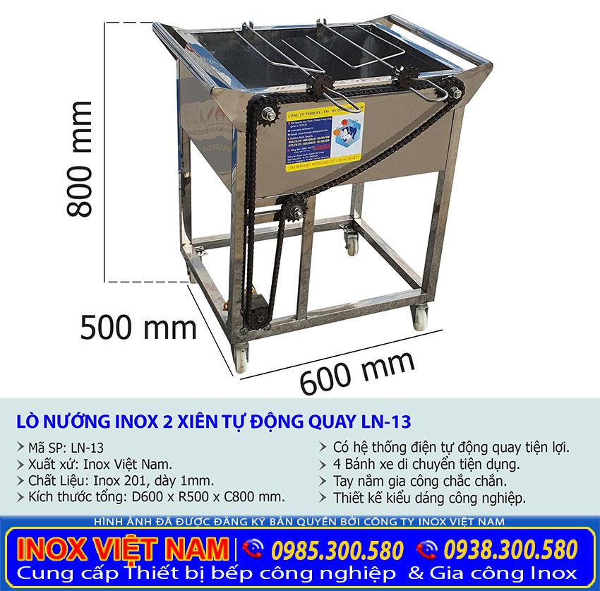 Kích thước bếp nướng gà vịt 2 xiên tự động quay LN-13.