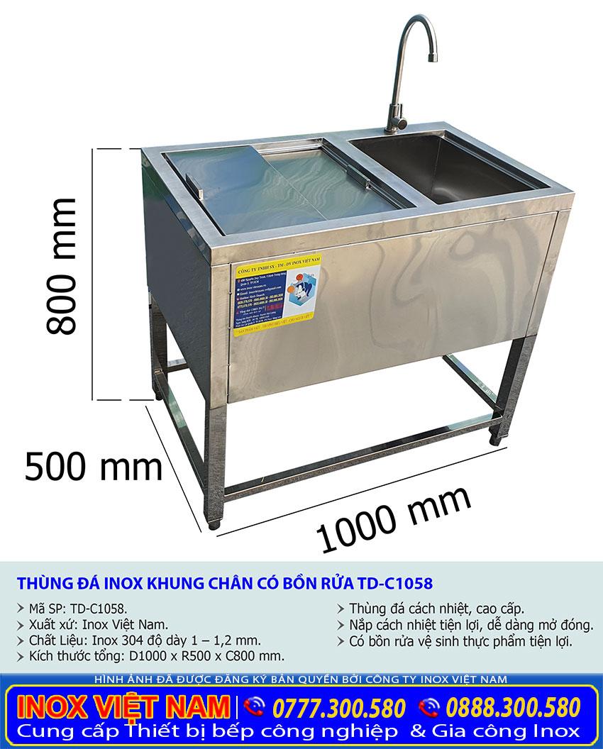 Kích thước thùng đá inox có chân kèm bồn rửa TD-C1058.