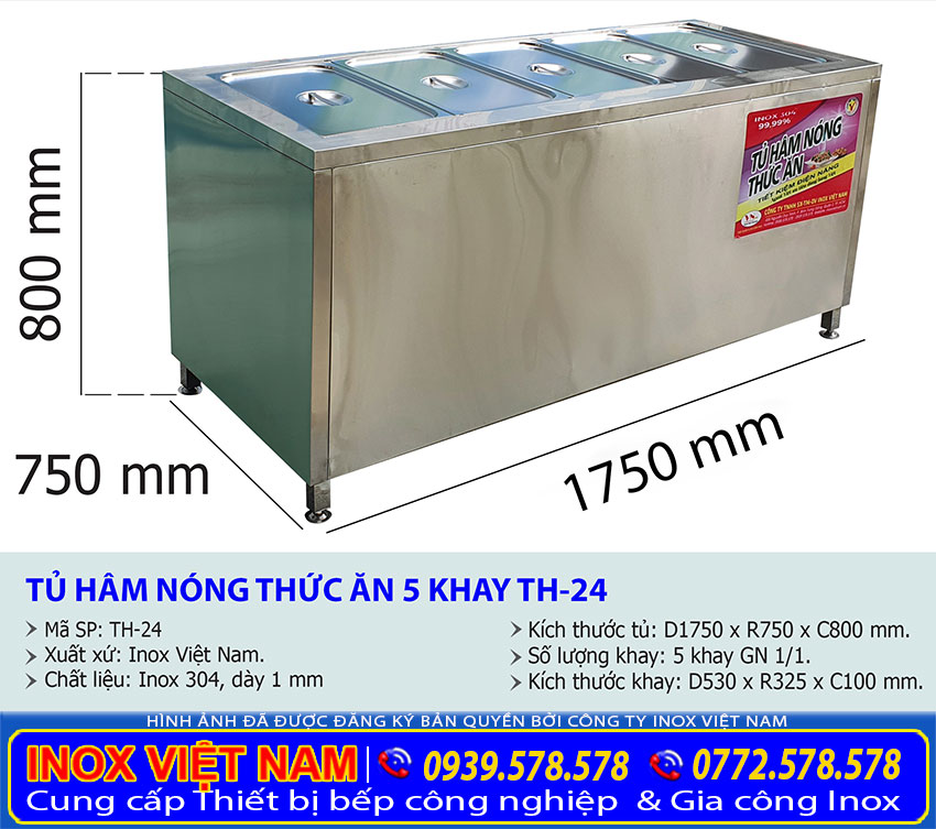 Kích thước tủ hâm nóng thức ăn 5 khay TH-24.