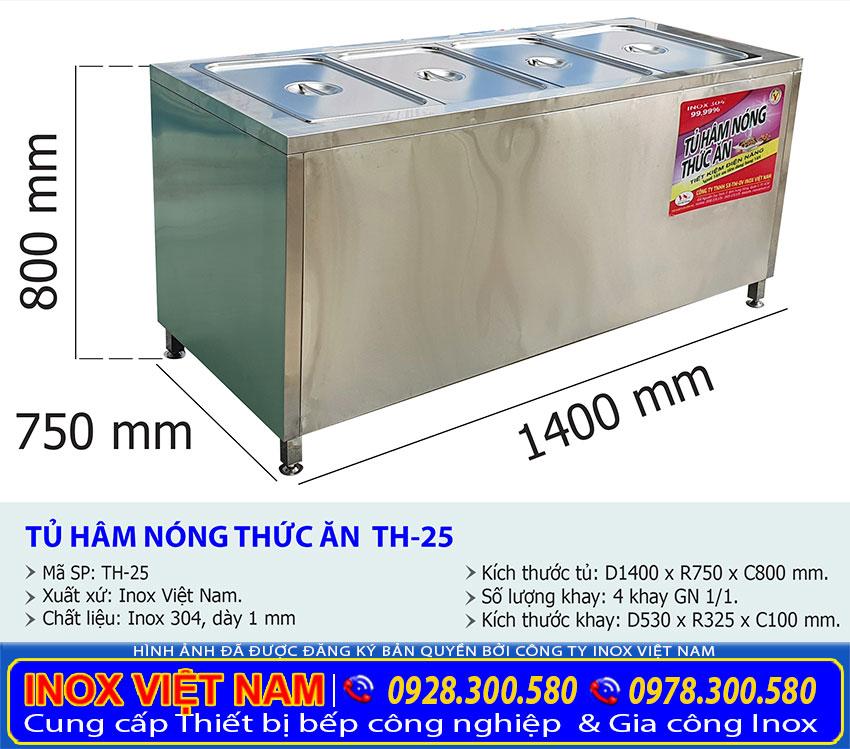 Kích thước tủ hâm nóng thức ăn công nghiệp TH-25.