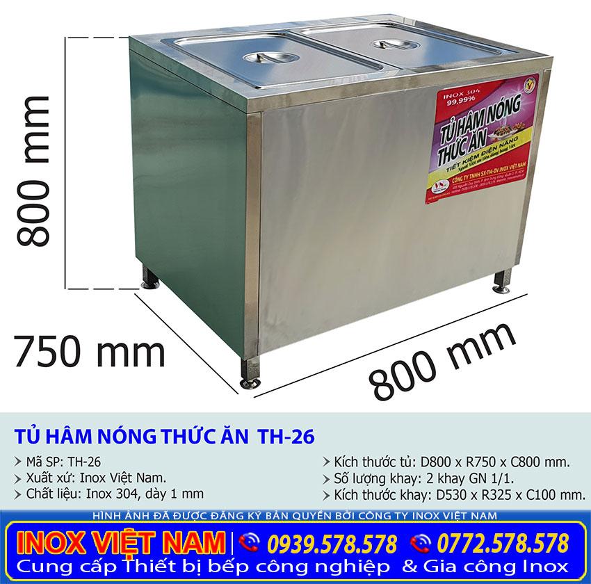 Kích thước tủ hâm nóng thức ăn TH-26.