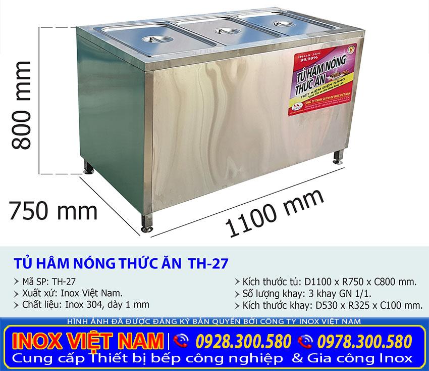 Kích thước tủ hâm nóng thức ăn 3 khay TH-27.