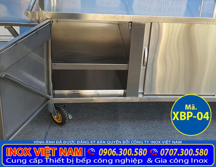 Chi tiết các ngăn tủ của xe bán hủ tiếu inox XBP-04.