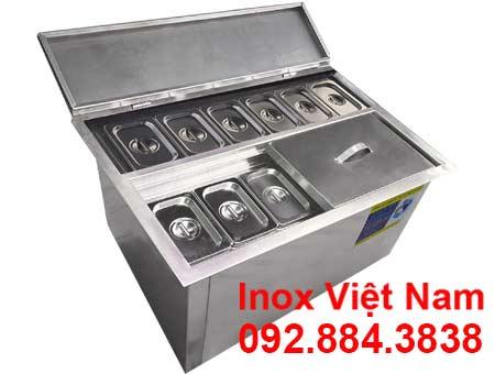 Thùng Đá Inox Có Khay Topping TD-22