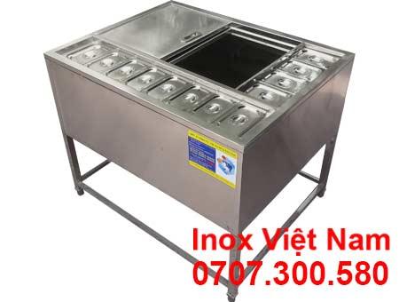 Thùng Đá Inox Khung Chân Có Khay Topping TD-26