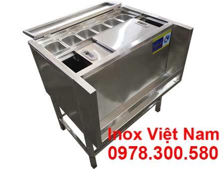 Thùng Đựng Đá Inox Khung Chân Có Khay Topping TD-TP28